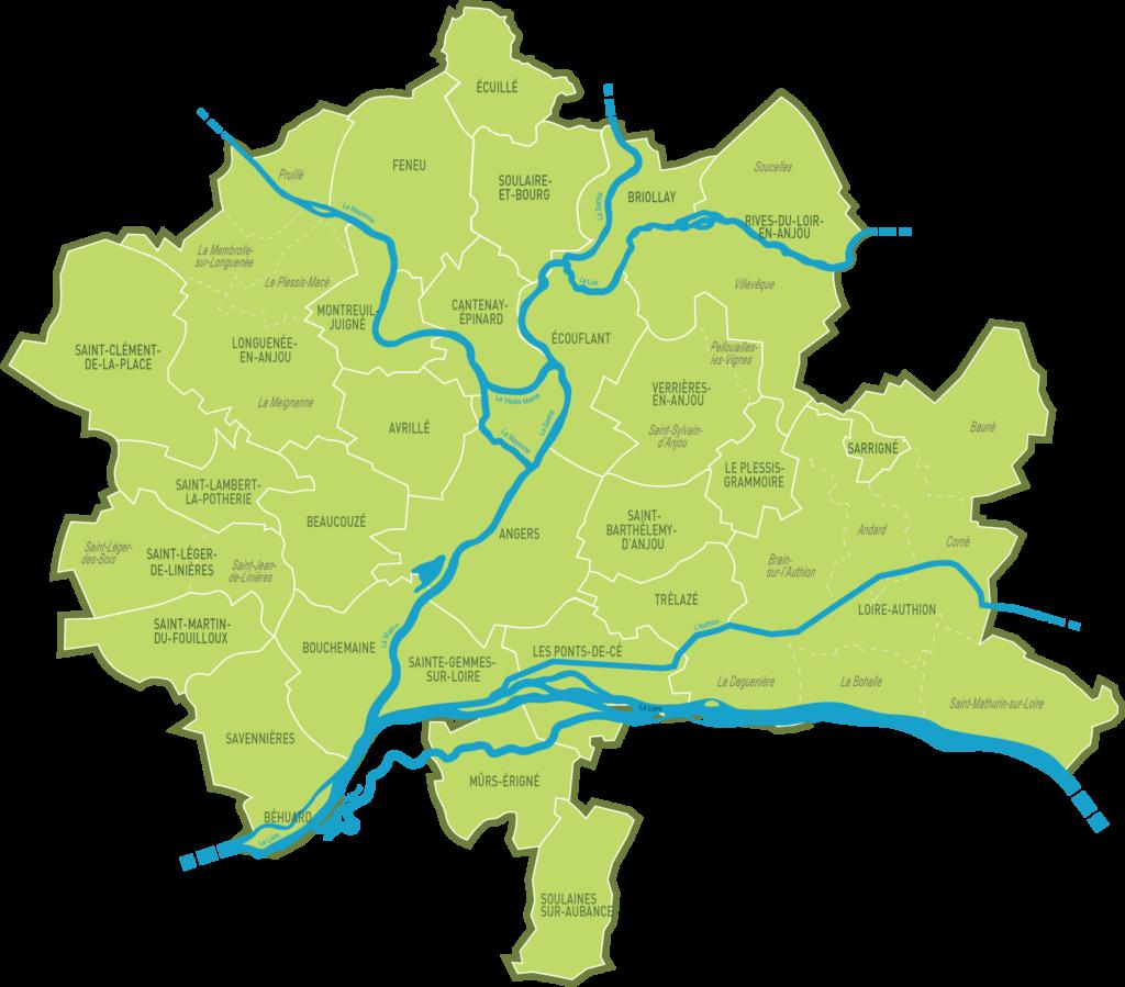 Carte des communes membres d'Angers Loire Métropole