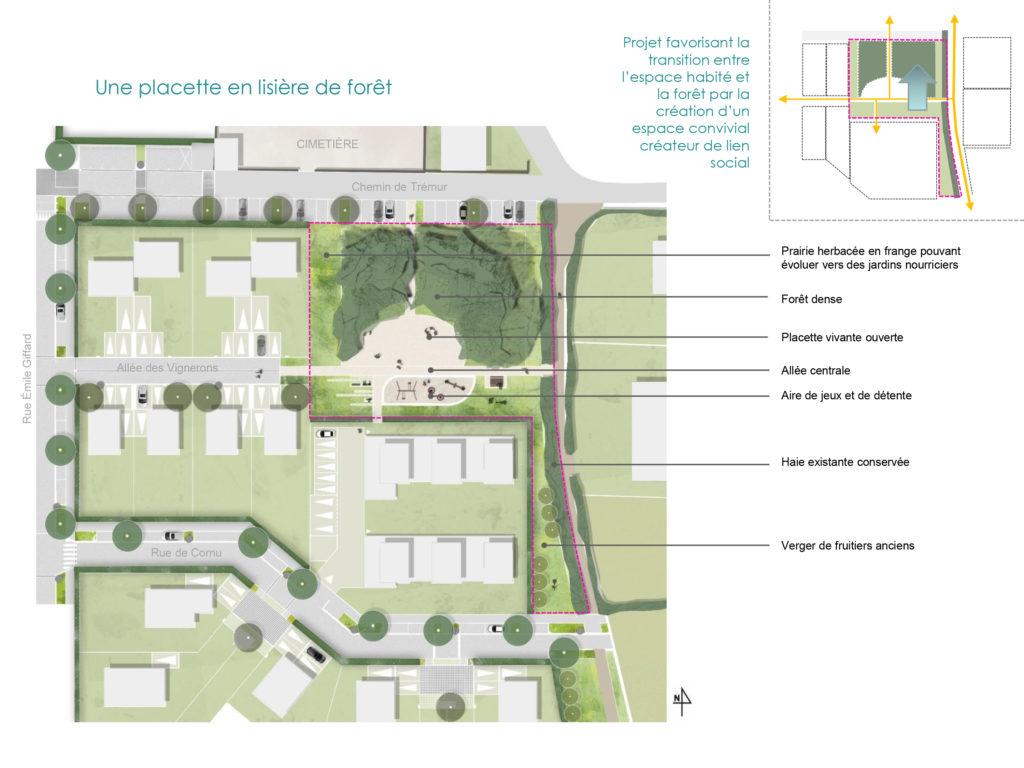 Scénario retenu pour l'implantation d'une mini-forêt aux Hauts de Mûrs. Forêt au nord cachant les parkings, aire de jeux et de vie tourné vers les habitations.